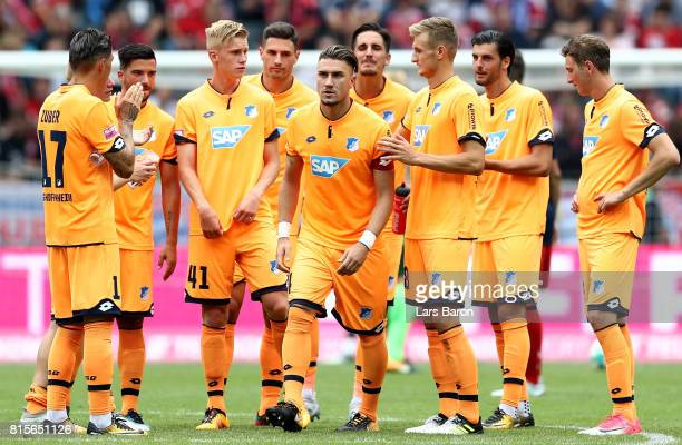Ermin Bicakcic of Hoffenheim is seen with his team mates during the Telekom Cup 2017 3rd place match between Borussia Moenchengladbach and TSG...