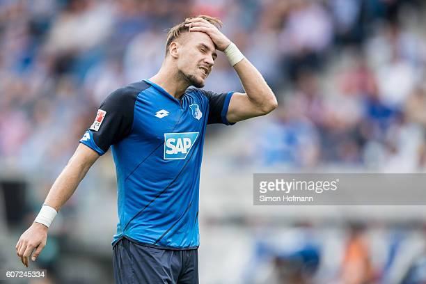 Ermin Bicakcic of Hoffenheim reacts after the Bundesliga match between TSG 1899 Hoffenheim and VfL Wolfsburg at Wirsol RheinNeckarArena on September...