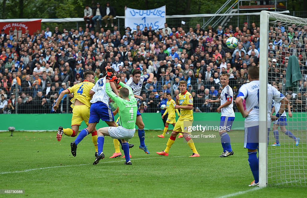 Ermin Bicakcic of Hoffenheim scores the second goal during the DFB Pokal first round match between USC Paloma and 1899 Hoffenheim on August 17, 2014 in Hamburg, Germany.