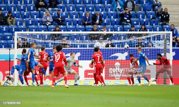 Ermin Bicakcic of TSG 1899 Hoffenheim scores his sides first goal during the Bundesliga match between TSG Hoffenheim and FC Bayern Muenchen at...