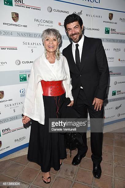 Erminia Ferrari and Pierfrancesco Favino attend the Nastri D'Argento Awards 2014 Cocktail on June 28 2014 in Taormina Italy