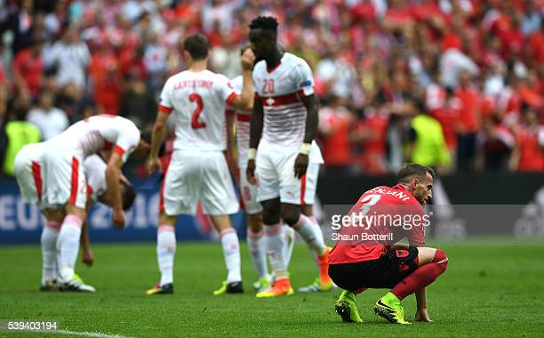 Ermir Lenjani of Albania shows dejection after his team's 01 defeat in the UEFA EURO 2016 Group A match between Albania and Switzerland at Stade...