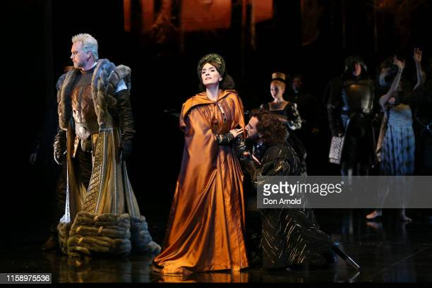 Ermonela Jaho plays the role of Anne Boleyn and Teddy Tahu Rhodes plays the role of King Henry VIII during the final dress rehearsal of Opera...
