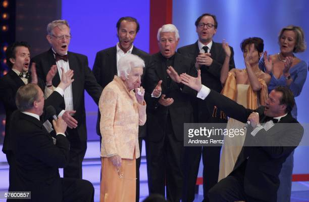 Erna Baumbauer gestures during the ceremony at the German Film Awards at the Palais am Funkturm May 12 2006 in Berlin Germany