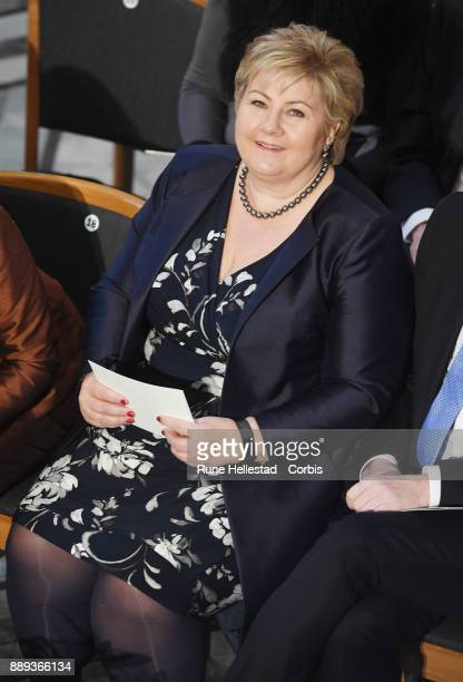 Erna Solberg attends the Nobel Peace Prize ceremony at Oslo City Town Hall on December 10 2017 in Oslo Norway