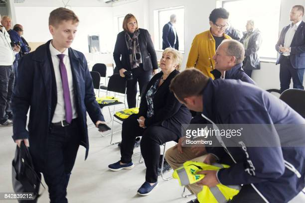 Erna Solberg Norway's prime minister center visits the construction site for the Stleheia sustainable data center during her Conservative Party...