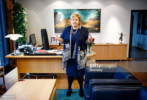 Erna Solberg Norway's prime minister gestures as she speaks during an interview at her office in Oslo Norway on Wednesday Oct 1 2014 Europe shouldnt...