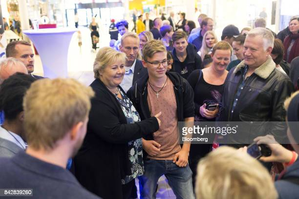 Erna Solberg Norway's prime minister meets visitors during a Conservative Party election campaign visit to the Srlandssenteret shopping mall in...