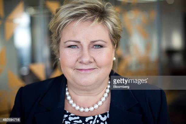 Erna Solberg Norway's prime minister poses for a photograph following a Bloomberg Television interview on the sidelines of the 'How can green...