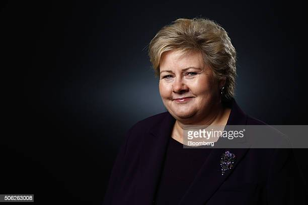 Erna Solberg Norway's prime minister poses for a photograph following a Bloomberg Television interview at the World Economic Forum in Davos...