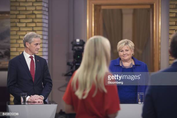 Erna Solberg Norway's prime minister right and Jonas Gahr Storeleader of Norway's Labor Party left attend a televised debate following a...