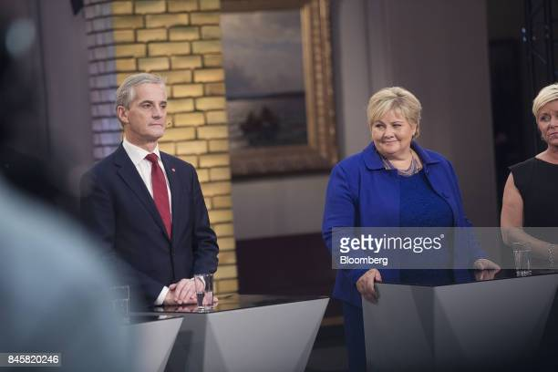 Erna Solberg Norway's prime minister right and Jonas Gahr Storeleader of Norway's Labor Party attend a televised debate following a parliamentary...
