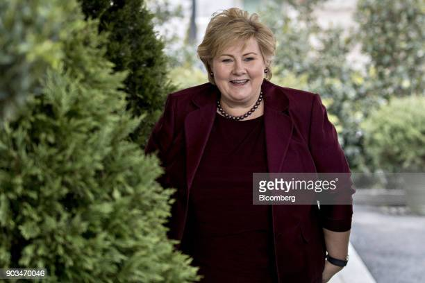 Erna Solberg Norway's prime minister stands after being greeted by US President Donald Trump not pictured at the West Wing of the White in Washington...