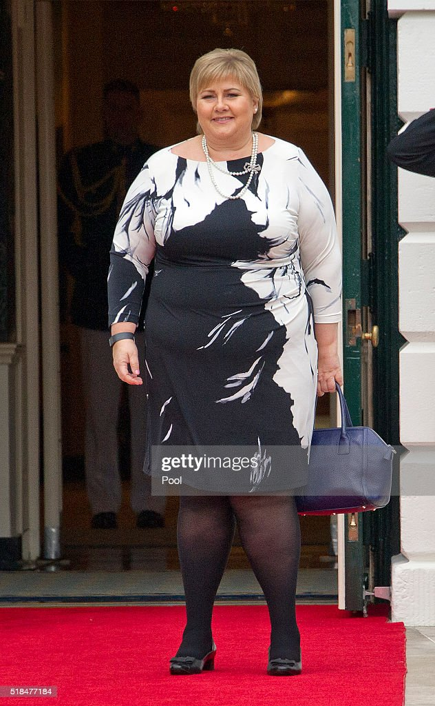 Erna Solberg, Prime Minister of the Kingdom of Norway arrives for the working dinner for the heads of delegations at the Nuclear Security Summit on the South Lawn of the White House March 31, 2016 in Washington, D.C..