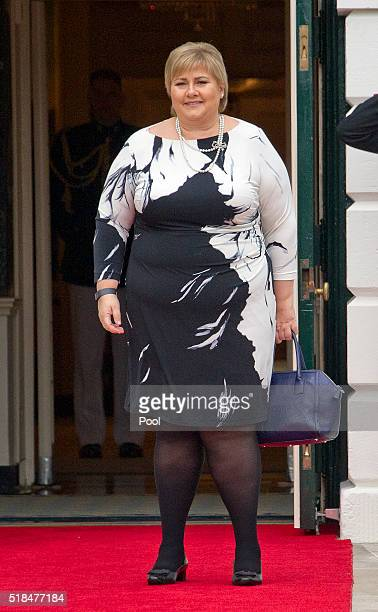 Erna Solberg Prime Minister of the Kingdom of Norway arrives for the working dinner for the heads of delegations at the Nuclear Security Summit on...