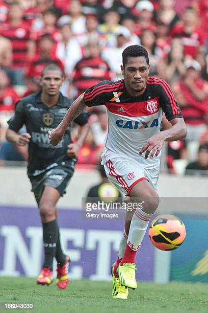 Ernani of Flamengo in action during the match between Flamengo and Portuguese for the Brazilian Championship Serie A in 2013 Castelao Arena stadium...