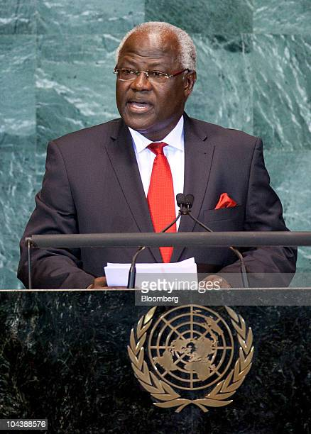 Ernest Bai Koroma president of Sierra Leone speaks during the 65th annual United Nations General Assembly at the UN in New York US on Thursday Sept...