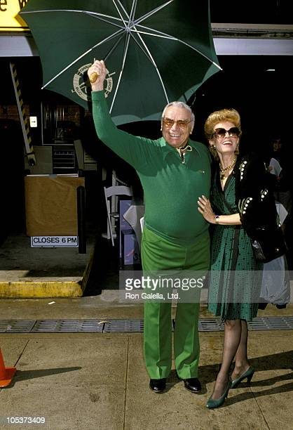 Ernest Borgnine and Tova Borgnine during 1986 St Patricks Day Parade at Beverly Hills in Beverly Hills California United States