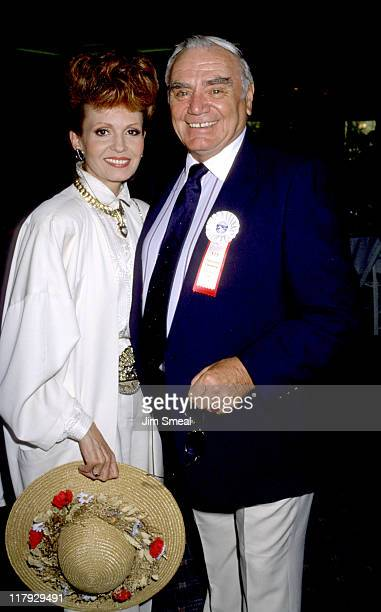 Ernest Borgnine and Tova Borgnine during Hollywood 100 Pro Celebrity Polo Match at Los Angeles Equestrian Club in Los Angeles California United States