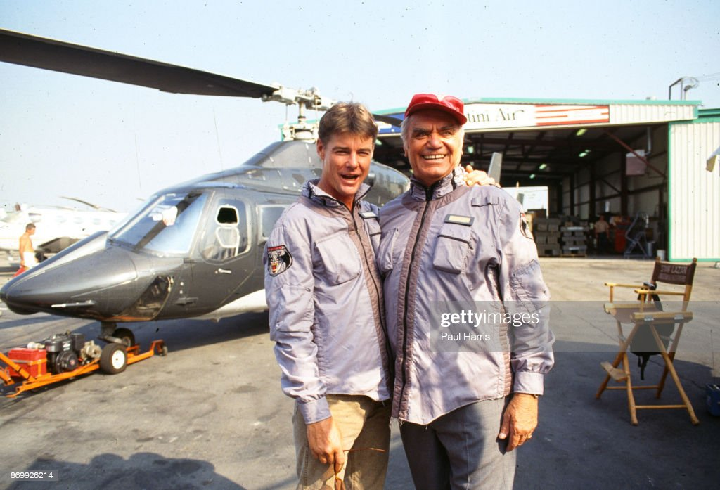 Ernest Borgnine plays Dominic Santini in Airwolf with co star Jan Michael Vincent May 6, 1985 at Van Nuys Airport, Los Angeles, California .
