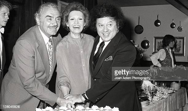 Ernest Borgnine with wife Tova and Marty Allen, at launch party her Tova 9 cactus masque on May 12 1978 at the in Los Angeles, California.