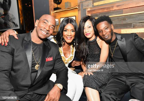Ernest Bryant Momma Dee Quani and Puma attend the premiere of WE tv's Marriage Boot Camp Reality Stars at HYDE Sunset Kitchen Cocktails on August 28...