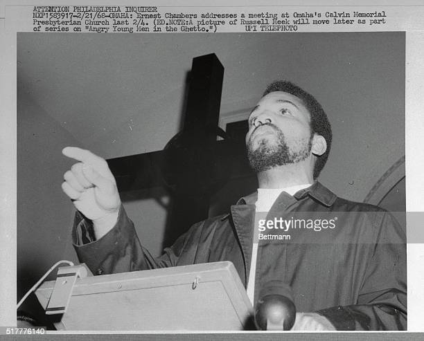 Ernest Chambers during a speech to racially mixed group at Calvin Memorial Presbyterian Church about one block from Spencer Street Shop