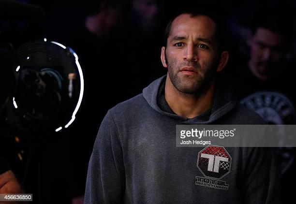 Ernest Chavez enters the arena before his featherweight bout against Zubaira Tukhugov of Russia at the Ericsson Globe Arena on October 4 2014 in...