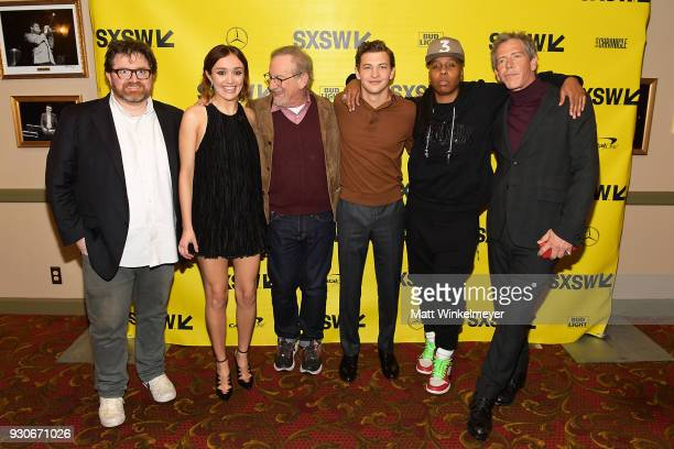 Ernest Cline Olivia Cook Steven Spielberg Tye Sheridan Lena Waithe and Ben Mendelsohn attend 'Ready Player One' Premiere 2018 SXSW Conference and...