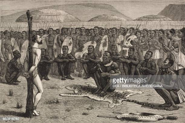 Ernest Grandier taken prisoner by the Zulus at Zlobane Hill South Africa AngloBoer War illustration from the magazine The Graphic volume XX no 502...