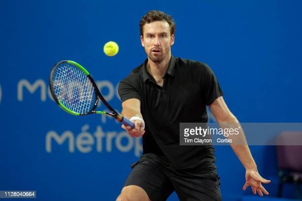 Ernest Gulbis of Latvia in action against Radu Albot of Moldova at the Open Sud de France Tennis Tournament at the Sud de France Arena on February...