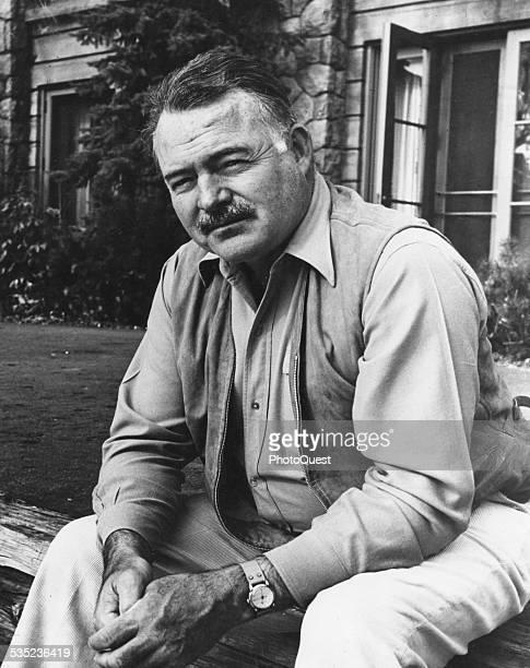 Ernest Hemingway , American novelist, journalist, and short story writer, mid 20th century.
