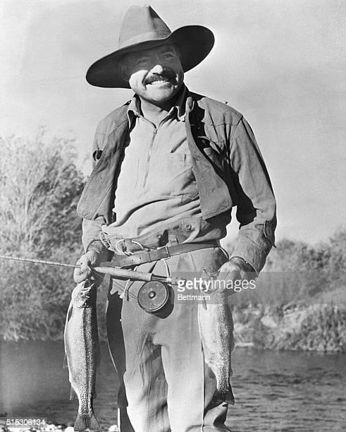 Ernest Hemingway fishing in Sun Valley.