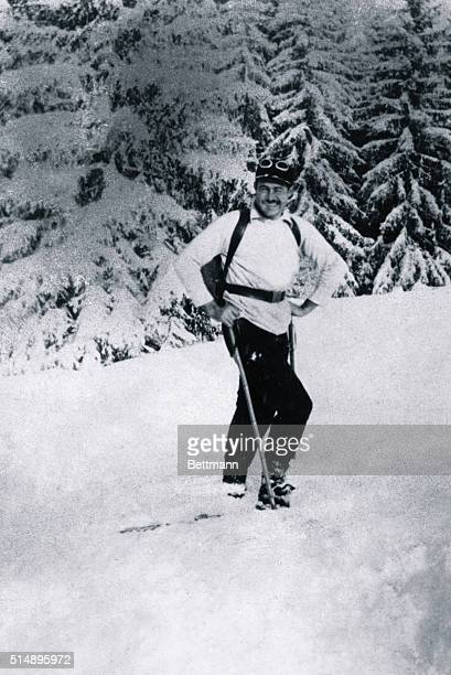 Ernest Hemingway photography during at Gstaad, Switzerland.
