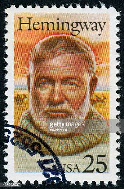 ernest hemingway stamp - famous authors stock pictures, royalty-free photos & images