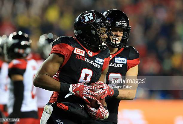 Ernest Jackson of the Ottawa Redblacks celebrates a touchdown in overtime of the 104th Grey Cup Championship Game against the Calgary Stampeders at...