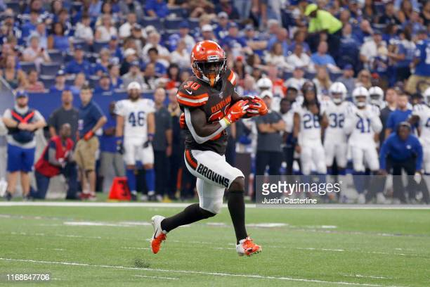 Ernest Johnson of the Cleveland Browns catches a pass during the second half of the preseason game against the Indianapolis Colts at Lucas Oil...