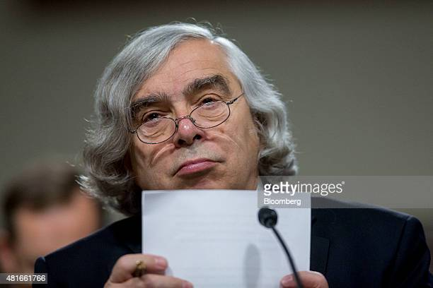 Ernest Moniz US secretary of energy listens during a Senate Foreign Relations Committee hearing in Washington DC US on Thursday July 23 2015 Senator...