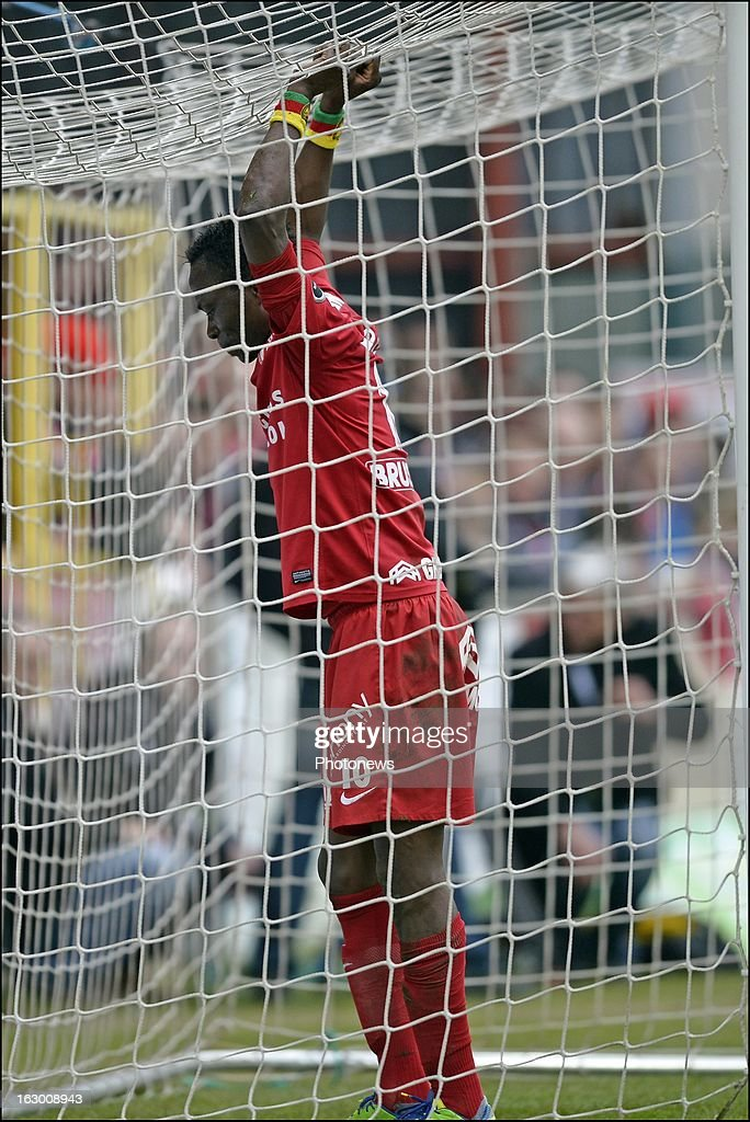 Ernest N'For of KV Kortrijk looks dejected on the final whistle after the defeat during the Cofidis Cup semi-final match between KV Kortrijk and Cercle Brugge in the Guldensporen stadium on March 03, 2013 in Kortrijk, Belgium.