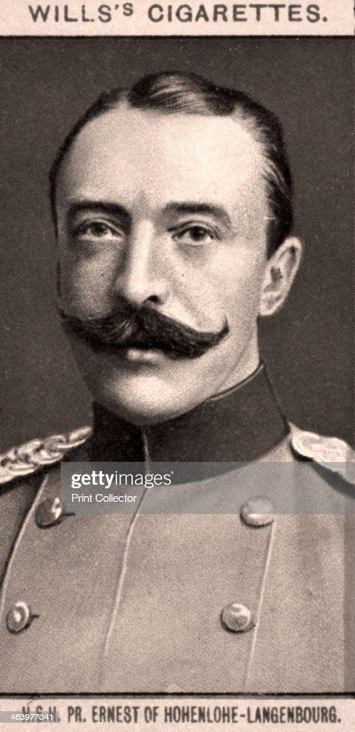 H.S.H, PR. Ernest of Hohenlohe-Langenbourg, 1908. Portraits of European Royalty, Wills's Cigarette Cards, Bristol & London.