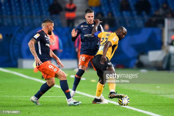 Ernest SEKA of Nancy and Mihailo RISTIC of Montpellier and Andy DELORT of Montpellier during the League Cup match between Montpellier and Nancy on...