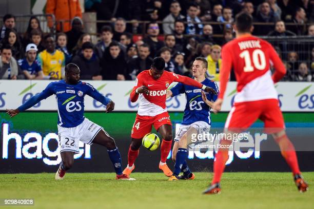 Ernest Seka of Strasbourg Keita Balde of Monaco and Dimitri Lienard of Strasbourg during the Ligue 1 match between Strasbourg and AS Monaco at on...
