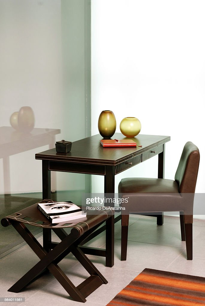 Ernest Writing Desk, Brigitta Short Chair And Achille Stool, All By  Promemoria, And