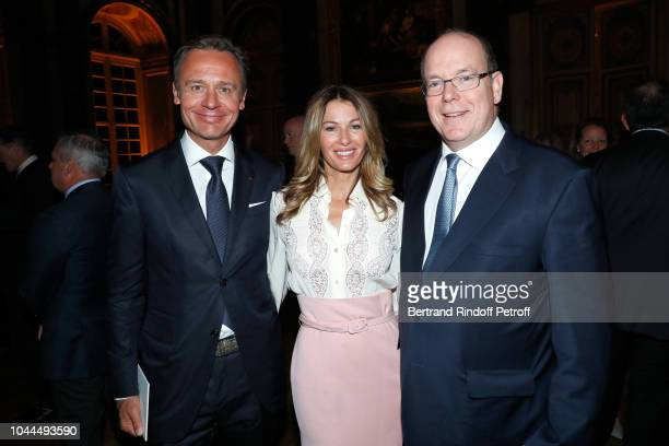 Ernesto Barterelli his wife Kirsty and Prince Albert de Monaco attend the Ryder Cup Dinner at Chateau de Versailles on September 28 2018 in...
