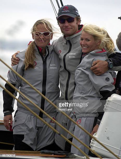 Ernesto Bertarelli Alinghi syndicate head and his wife Kirsty and her sister Dona Spaeth aboard SUI64 shortly after race four of the America's Cup...