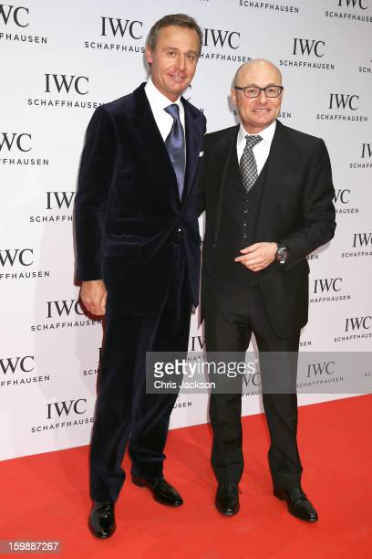 Ernesto Bertarelli and Georges Kern attend the IWC Schaffhausen Race Night event during the Salon International de la Haute Horlogerie 2013 at...