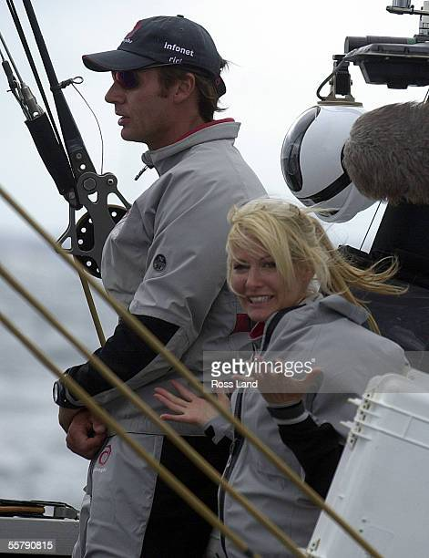 Ernesto Bertarelli and his wife Kirsty aboard SUI64 shortly after race four of the America's Cup was abandoned due to shifty conditions on Auckland's...