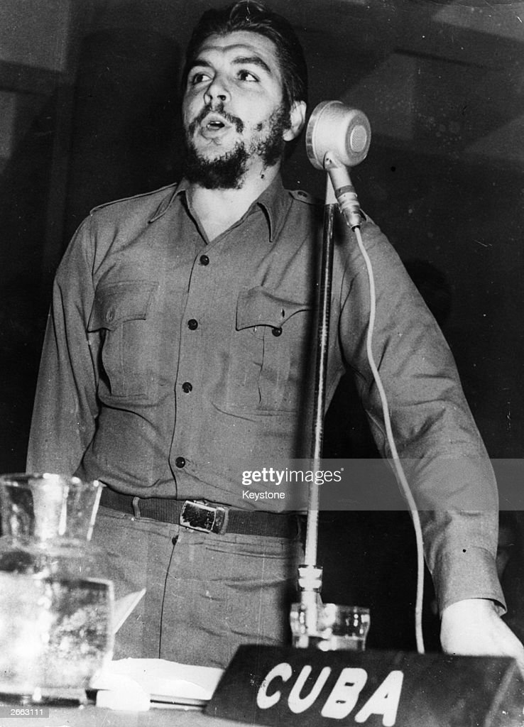 Ernesto Che Guevara (1928 - 1967), Communist revolutionary leader and Cuba's Minister of Industry, speaking as head of the Cuban delegation at the Fifth Session of the Economic and Social Interamerican Council Conference at Punta del Este, Uruguay. Original Publication: People Disc - HE0045
