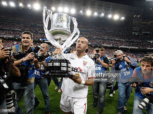 Ernesto Chevanton of Sevilla celebrates with the Copa del Rey after Sevilla beat Getafe 10 in the Copa del Rey final at the Santiago Bernabeu stadium...