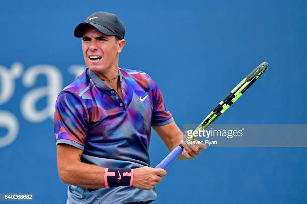Ernesto Escobedo of the United States returns a shot to Radu Albot of Moldova on Day One of the 2017 US Open at the USTA Billie Jean King National...